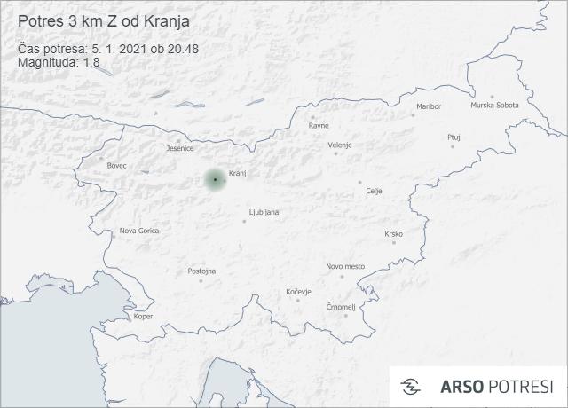 Potres 3 km Z od Kranja 5. 1. 2021 ob 20.48