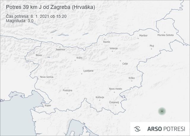 Potres 39 km J od Zagreba (Hrvaška) 8. 1. 2021 ob 15.20