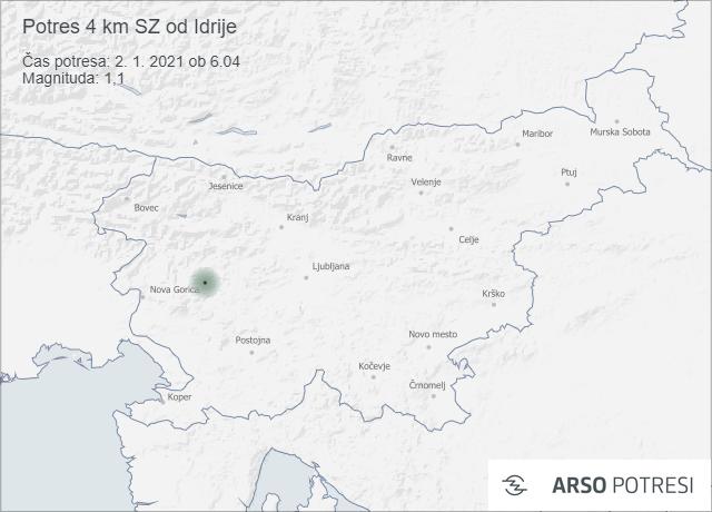 Potres 4 km SZ od Idrije 2. 1. 2021 ob 6.04