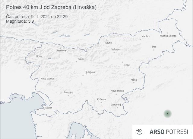 Potres 40 km J od Zagreba (Hrvaška) 9. 1. 2021 ob 22.29