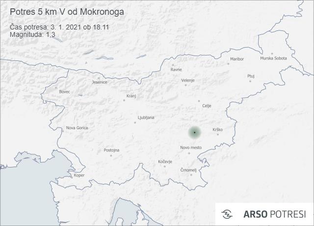 Potres 5 km V od Mokronoga 3. 1. 2021 ob 18.11