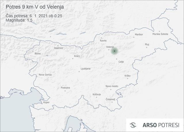 Potres 9 km V od Velenja 6. 1. 2021 ob 0.25