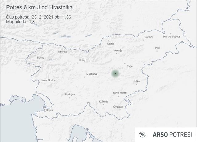 Potres 6 km J od Hrastnika 23. 2. 2021 ob 11.36