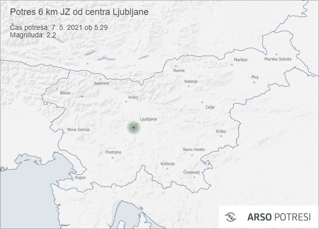 Potres 6 km JZ od centra Ljubljane 7. 5. 2021 ob 5.29