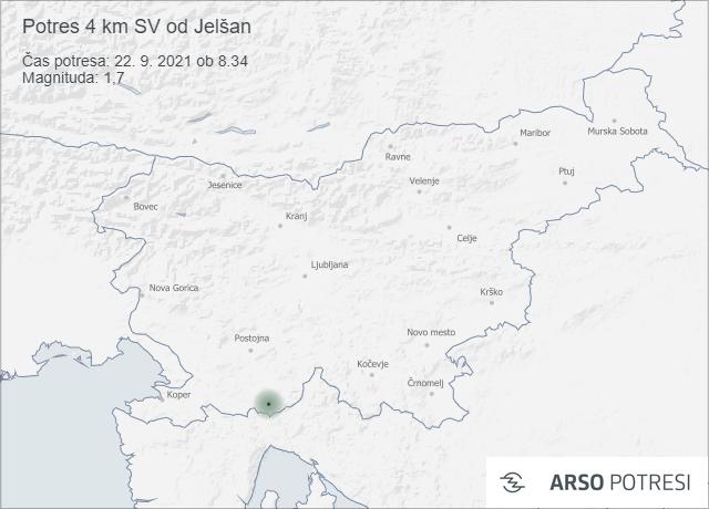 Potres 4 km SV od Jelšan 22. 9. 2021 ob 8.34